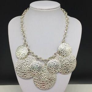 White House Black Market Silver Circle Necklace